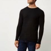River Island Mens Black ribbed slim fit long sleeve T-shirt - Size S (