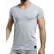 Cut For Men C4M Solid V Neck Short Sleeved T Shirt Grey C4M07