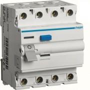 Áram-védőkapcsoló (Fi-relé), AC osztály, 4P, 63A, 300mA (Hager CF464J)