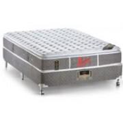 Conjunto Box Colchão Castor Molas Pocket Light Stress Oxygen New + Cama Box Nobuck Cinza - Conjunto Box Queen Size - 158 x 198