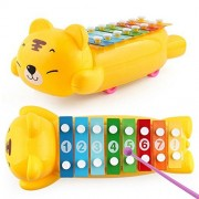 Baomabao Baby Kid Wisdom Development Puppy drag 8-Note Xylophone Musical Toys (yellow)
