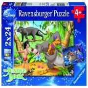 Puzzle prietenii lui mowgli, 2x24 piese Ravensburger