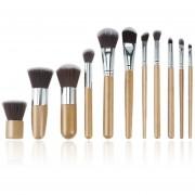 ER Maquillaje 11pcs De Bambú Natural Pinceles Fundación Brocha Tool Set