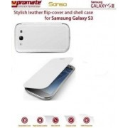 Promate Sansa Samsung Galaxy S3 Stylish leather flip-cover and shell case Detachable cover to replace original Samsung S3 cover Colour:White and White The Sansa is an attractive leather flip cover with a hard shell rear casing for the Samsung Galaxy S3.