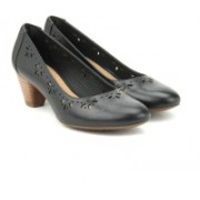 Clarks Denny Dazzle Black Leather Slip on(Black)