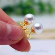 Cercei perle argintii placati cu aur