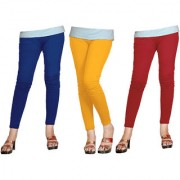 Naisargee Women's and Girl's RoyalBlue-Yellow-Red Silk Ankle Length Combo Leggings -(XXL Size - Pack of 3)