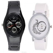 Rosra Black Men and Round Dial Peacock White Women Watches Couple For Men and Women