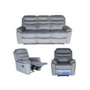 Set Canapea 3 locuri extensibila si 2 fotolii cu reclinere manuale Mobila Domnel Md.9939 stofa 70 Elefant skyn piele de elefant