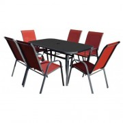 Baštenska garnitura Como sto i 6 stolica - crvena