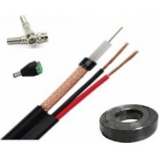 Cablu coaxial pentru camere supraveghere RG59 rola 100m cu dubla alimentare 0.5mm+2 mufe bnc si 1 mufa alimentare tata