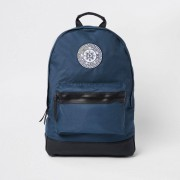 River Island Mens Navy London embroidery backpack (One Size)