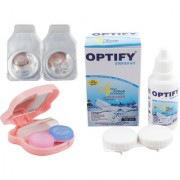 Optify Monthly Color Contact Lens with Kit (Zero Power Hazel Pack of 1)