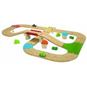 Plan Toys City Road and Rail Roadway Set