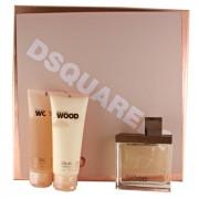 Dsquared2 Wood SET: Parfémovaná voda 100ml + Telové mlieko 100ml + Sprchovací gél 100ml