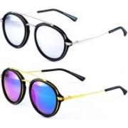 AALAE Aviator Sunglasses(Silver, Blue)