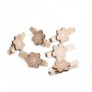 Dille&Kamille Pince, fleur, bois naturel, 4,5 cm, 6 pièces