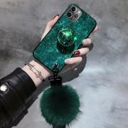 Exkluzív iPhone tok, puha bojttal - Zöld, XR