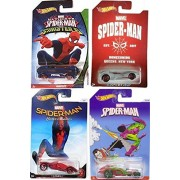 Hot Wheels Exclusive Marvel Cars Spider-Man Green Goblin ICandy / Sinister 6 Monoposto / Homecoming 2017 Chase Car Scoopa Di Fuego Queens, NY + Teegray in PROTECTIVE CASES