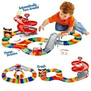 Race Car Track Toy with 96 Pieces Flexible Tracks Set