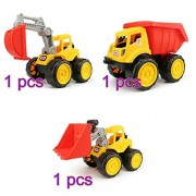 AHZZY Construction Vehicles Trucks, Sand Box Toys Cute Bulldozers Excavator Dump Truck Dredging Children Toys (Pack of 3)
