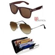 Ediotics Classic Brown Aviator Sunglasses Classic Brown Wayfarer Sunglasses Alumi Wallet Combo