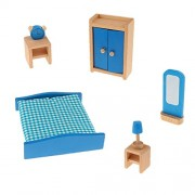 NF&E Wooden Dollhouse Miniature Accessories Blue Bedoom Furniture Set Kids Toys
