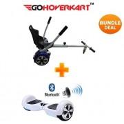 "Hoverkart & 6.5"" Bluetooth Hoverboard Racing White Go Racer Bundle"