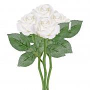 Merkloos 4x Witte rozen/roos kunstbloemen 27 cm