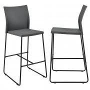 [en.casa]® Bárszék Moszkva 2 darabos design konyhai szék szett 107 x 31 x 48 cm szürke