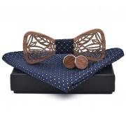 Dřevěný motýlek s kapesníčkem a manžetovými knoflíčky Gaira 709079