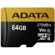 Card de memorie A-DATA, microSDXC, 64 GB, 275 MB/s Citire, 155 MB/s Scriere, Clasa 10 + Adaptor SD
