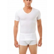 Underworks Shapewear Microfiber Light Compression V Neck Body Short Sleeved T Shirt White 478100