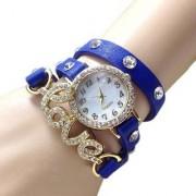 Blue Love Leather Belt Diamound Designing Stylist Leather Belt Analog Watch For Women