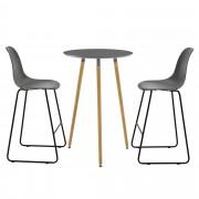 [en.casa]® Комплект кръгла дизайнерска бар маса с 2 стола, Тъмносив