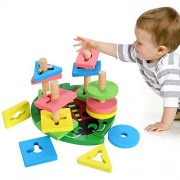 Wooden Educational Preschool Shape Color Recognition Geometric Board Block Stack Sort Chunky Puzzle Toys, Birthday...