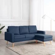 vidaXL 3-местен диван с поставка за крака, син, текстил