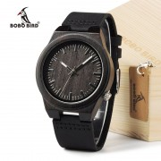 BOBO BIRD B12 Ebony Wood Men's Designer Bamboo Wooden Wristwatch With Genuine Leather Strap Casual Men dress Watch In Gift Box