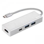 3-портов хъб USB-C HAMA Aluminium, USB 3.1 Gen1, 2 x USB-A, 1 x USB-C, 1х HDMI, Сребрист, HAMA-135756