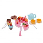 Segolike 54Pcs Birthday Decoration Cake Set Pretend Play Kids Kitchen Play Food Toys - pink, #2