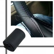 Husa pentru volan din piele eco de calitate, perforata cu ac si ata , marime 38 cm neagra - HVP530