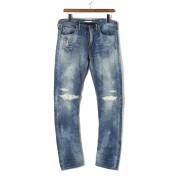 【84%OFF】D.E BLACKIE ダメージウォッシュ デニム調 イージーパンツ ブルー 28 ファッション > メンズウエア~~パンツ