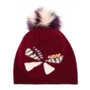 Fendi вязаная шапка с помпоном и бабочкой Fendi