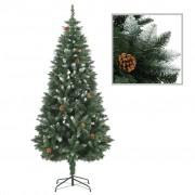 vidaXL Изкуствено коледно дърво с шишарки и бели връхчета, 180 см