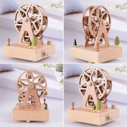 AST Works Rotary Wooden Ferris Wheel Music Box Clockwork Style Musical Toys Xmas Gift