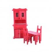 Jucarie din lemn mobilier bucatarie rosu