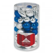 Sfere natalizie - argento/blu - 1148 (conf.60) - 164117 - No Brand