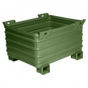 Heson Schwerlast-Stapelbehälter BxL 800 x 1000 mm, mit U-förmigen Füßen grün lackiert, ab 5 Stk