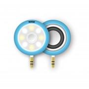 2 En 1 MiniI Altavoces +Selfie Luz Clip 6 Nivel Brillo Ajustar Selfie Light, 3.5 Mm Para Auriculares -Azul