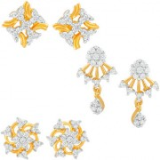 Mahi Gold Plated Exclusive Combo of Cubic Zirconia 3 Stud Earrings for girls and women CO1104803G